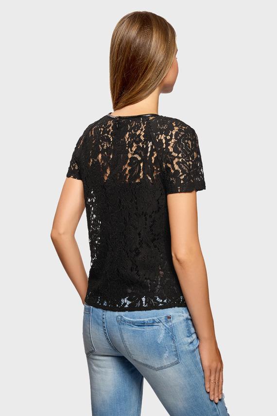 Женская черная кружевная блуза