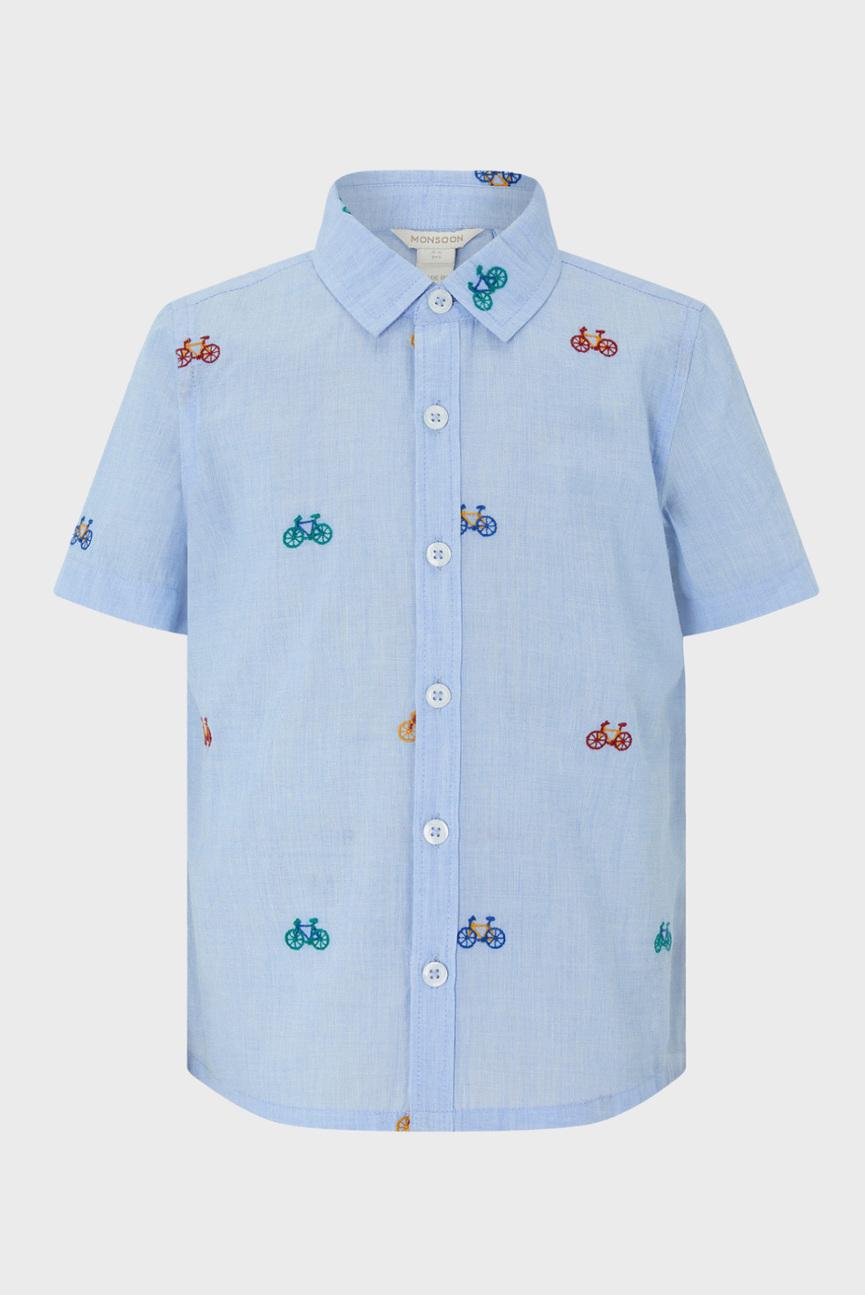 Детская голубая рубашка с принтом BRADLEY BIKE