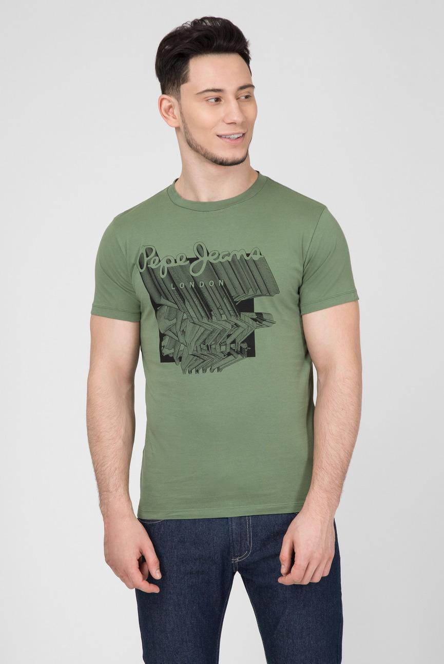 Мужская зеленая футболка с принтом LUCAS