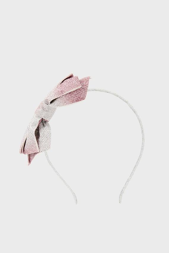 Детский серебристый обруч Alexa Ombre bow