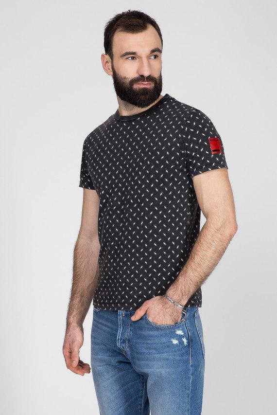 Мужская темно-серая футболка с принтом