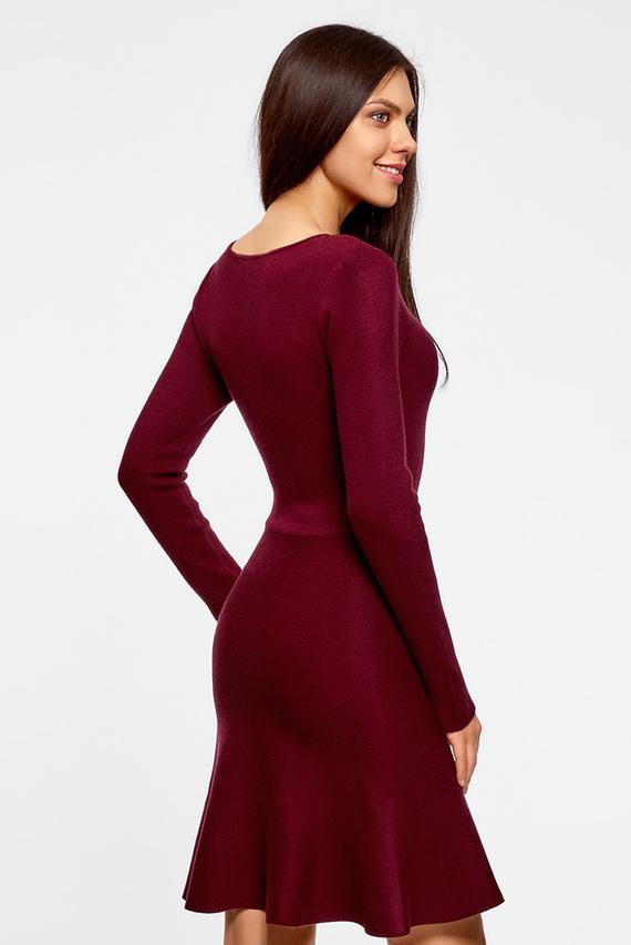 Женское бордовое расклешенное платье