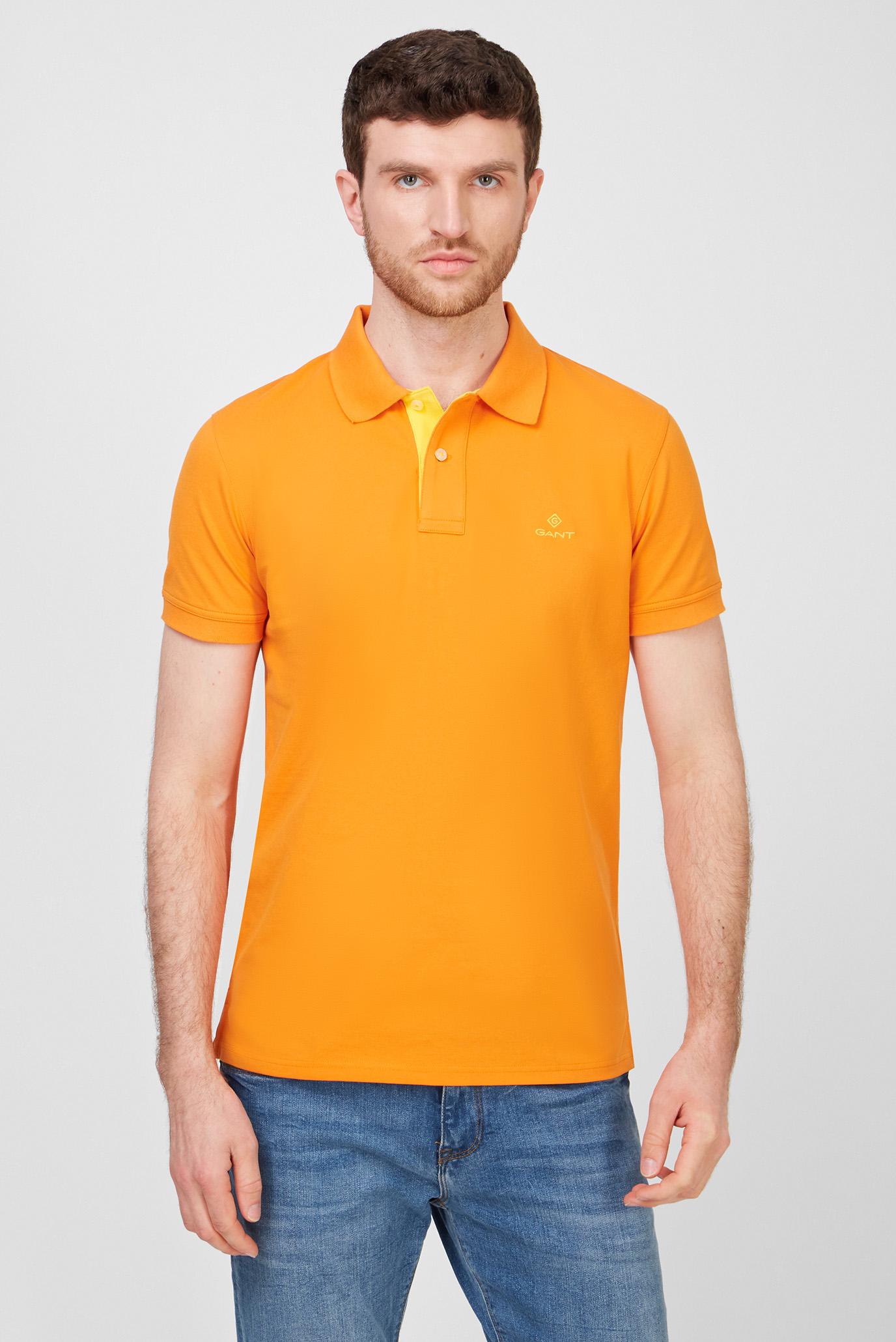Мужское оранжевое поло CONTRAST COLLAR PIQUE 1