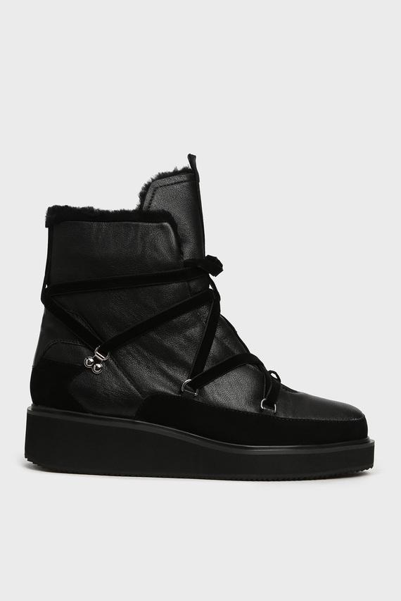 Женские черные кожаные ботинки с мехом Lerry