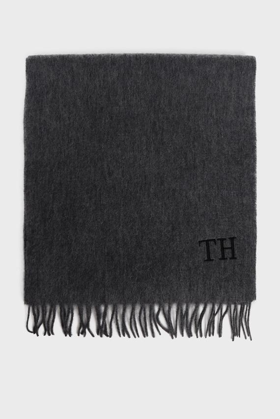 Мужской серый шерстяной шарф HILFIGER WOOL