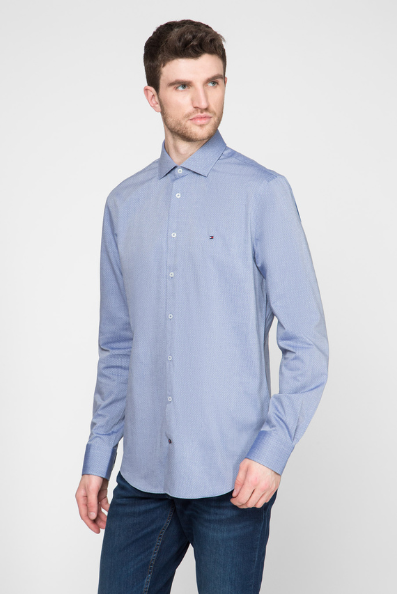 Мужская голубая рубашка DOBBY DESIGN CLASSIC SLIM EASY CARE
