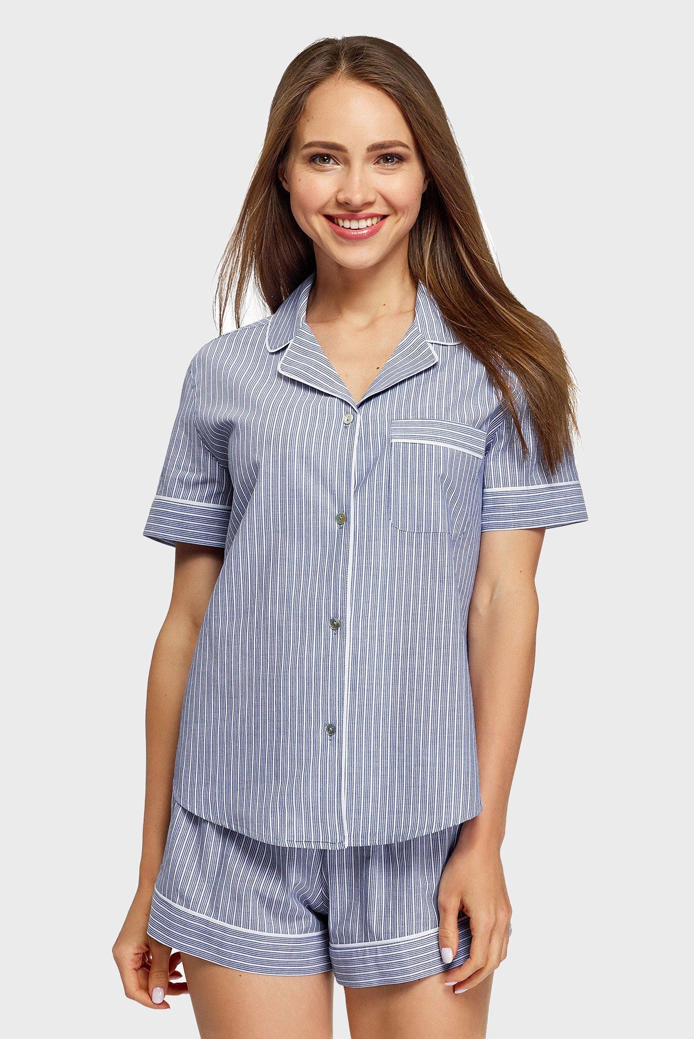Женская синяя ночная рубашка Oodji