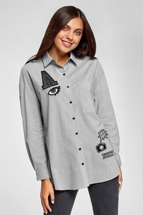 Женская серая рубашка