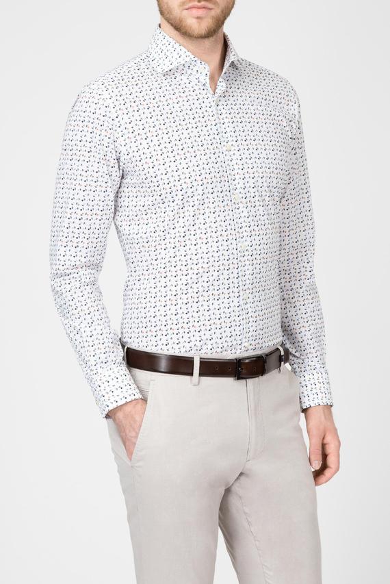 Мужская молочная рубашка с принтом
