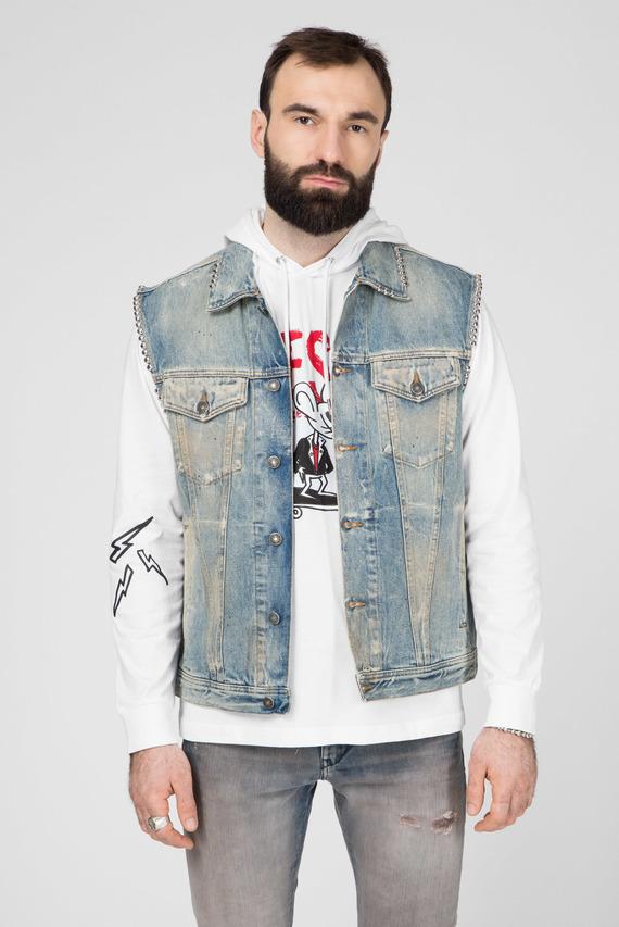 Мужской голубой джинсовый жилет D-SMAK