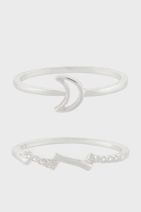 Женские серебристые кольца MOON & LIGHTING BOLT (2 шт)