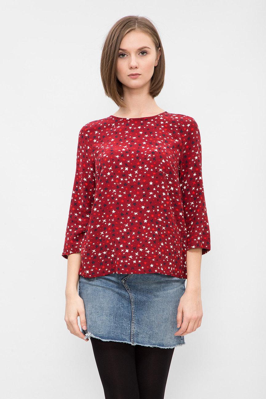 Женская бордовая блуза с принтом
