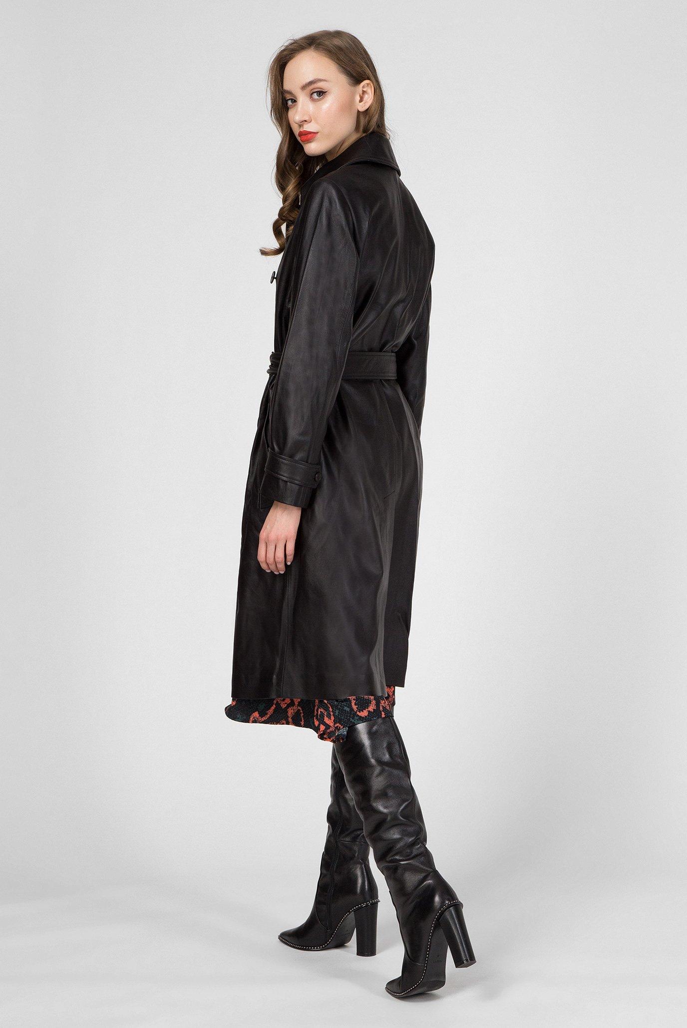 Женский черный кожаный тренч Calvin Klein