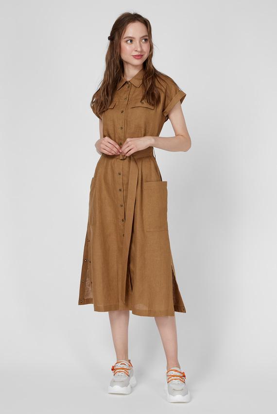 Женское коричневое льняное платье WWD 005