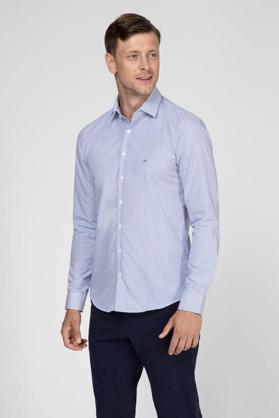 Мужская голубая рубашка STRIPE EASY IRON SLIM SHIRT