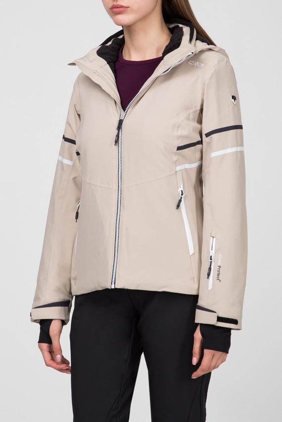 Женская бежевая пуховая лыжная куртка