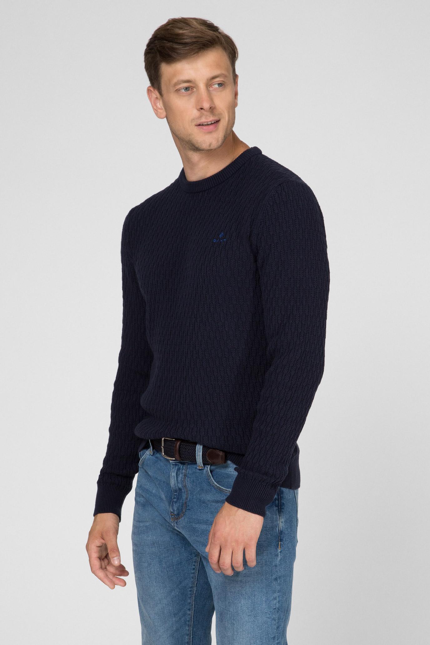 Купить Мужской темно-синий джемпер WHEAT TEXTURE Gant Gant 8040053 – Киев, Украина. Цены в интернет магазине MD Fashion