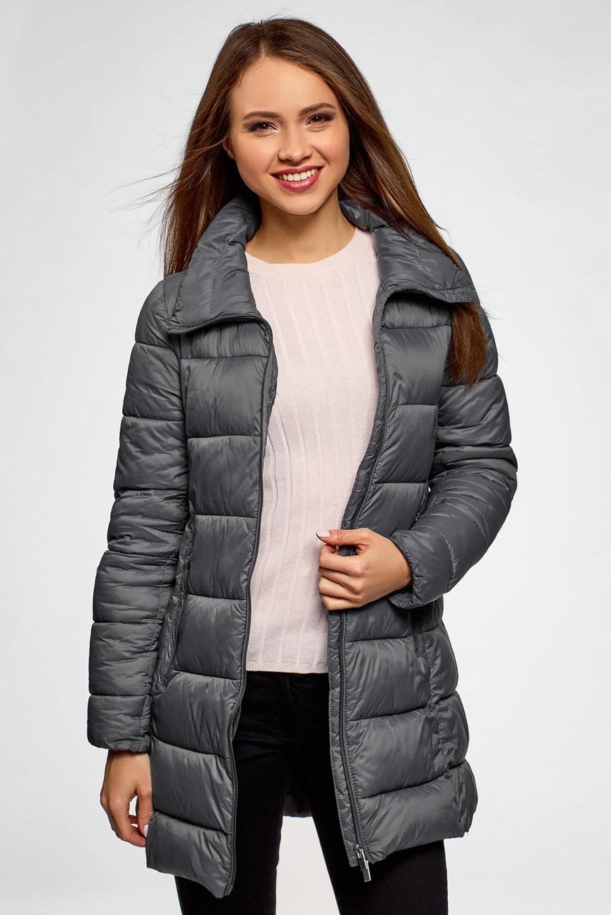 Женская серая удлиненная куртка