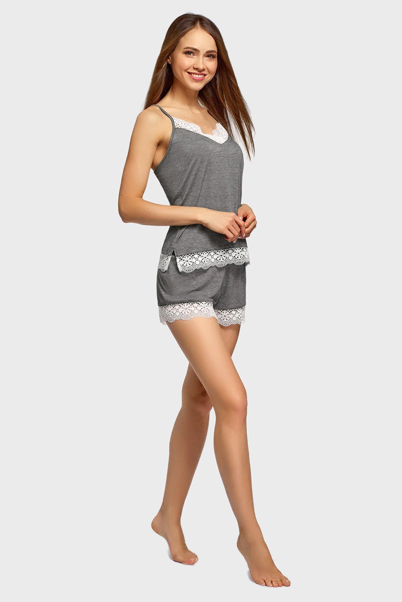 Женская серая пижама (майка, шорты) Oodji