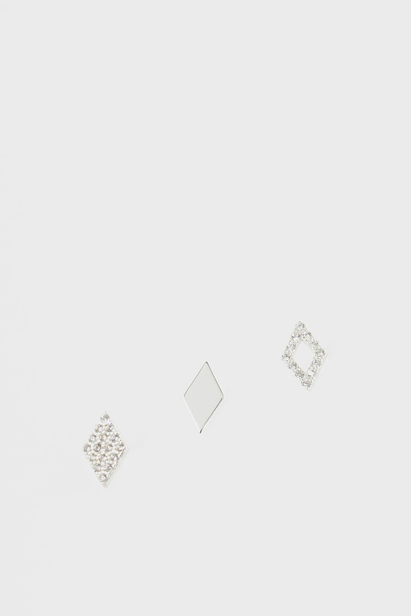Жіночі сріблясті сережки (3 шт) ST SPARKLE DIAMOND S 1