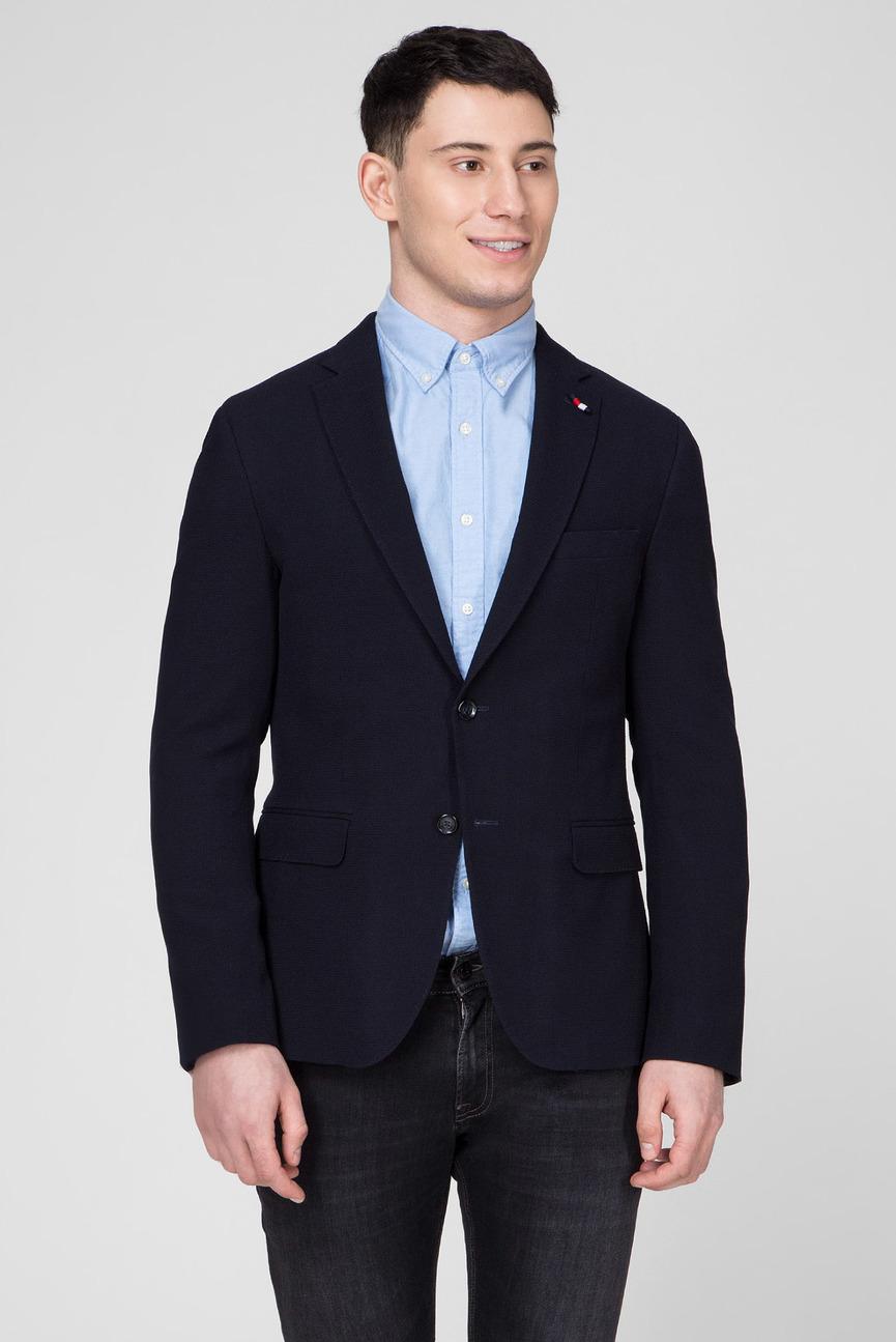 Мужской темно-синий пиджак WOOL STRETCH  X-SLIM FIT