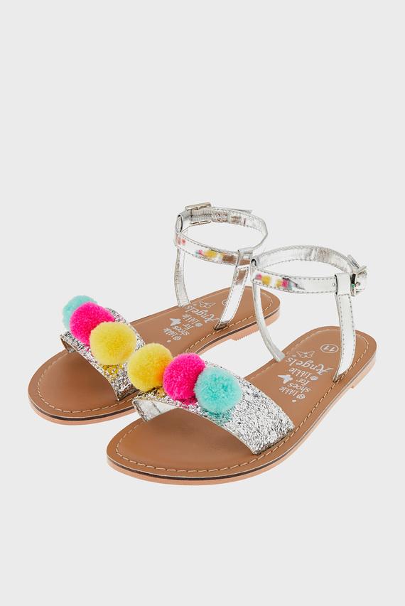 Детские серебристые сандалии POM POM GLITTER