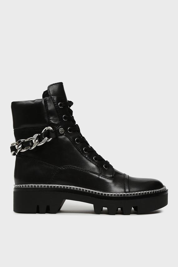 Женские черные кожаные ботинки DOMAIN