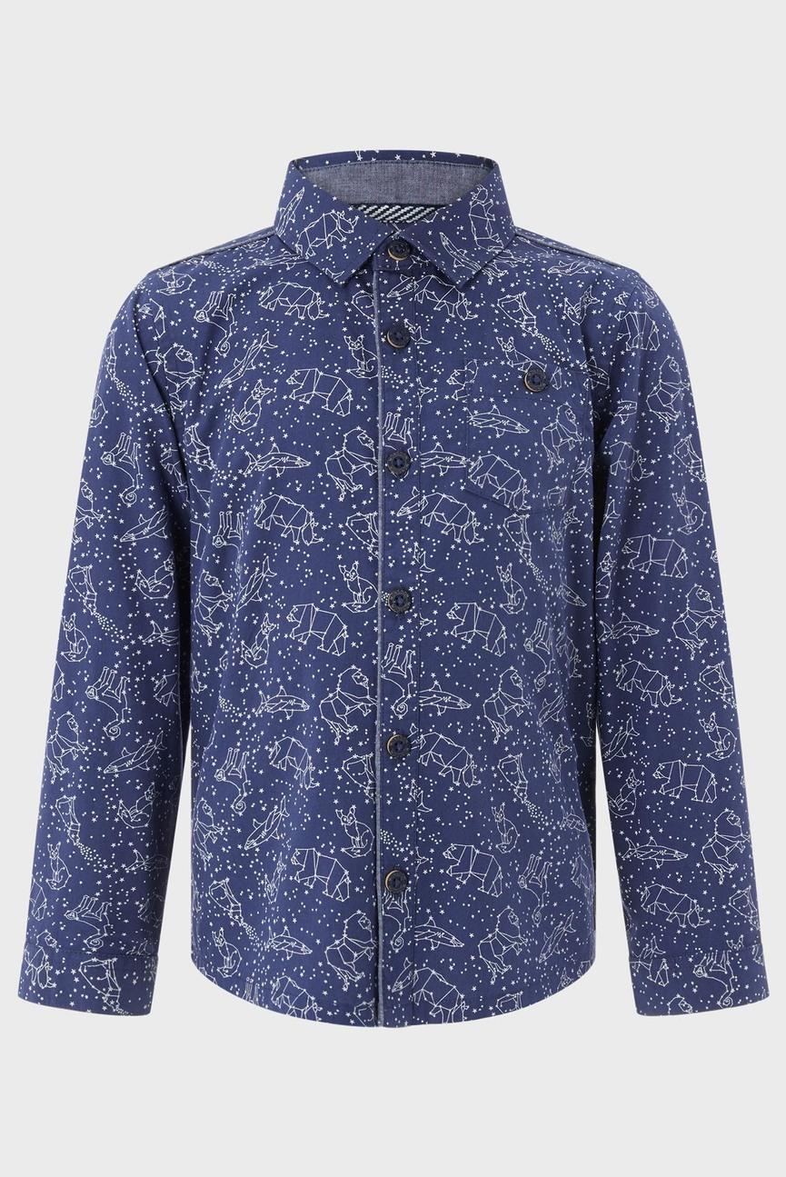 Детская темно-синяя рубашка с принтом