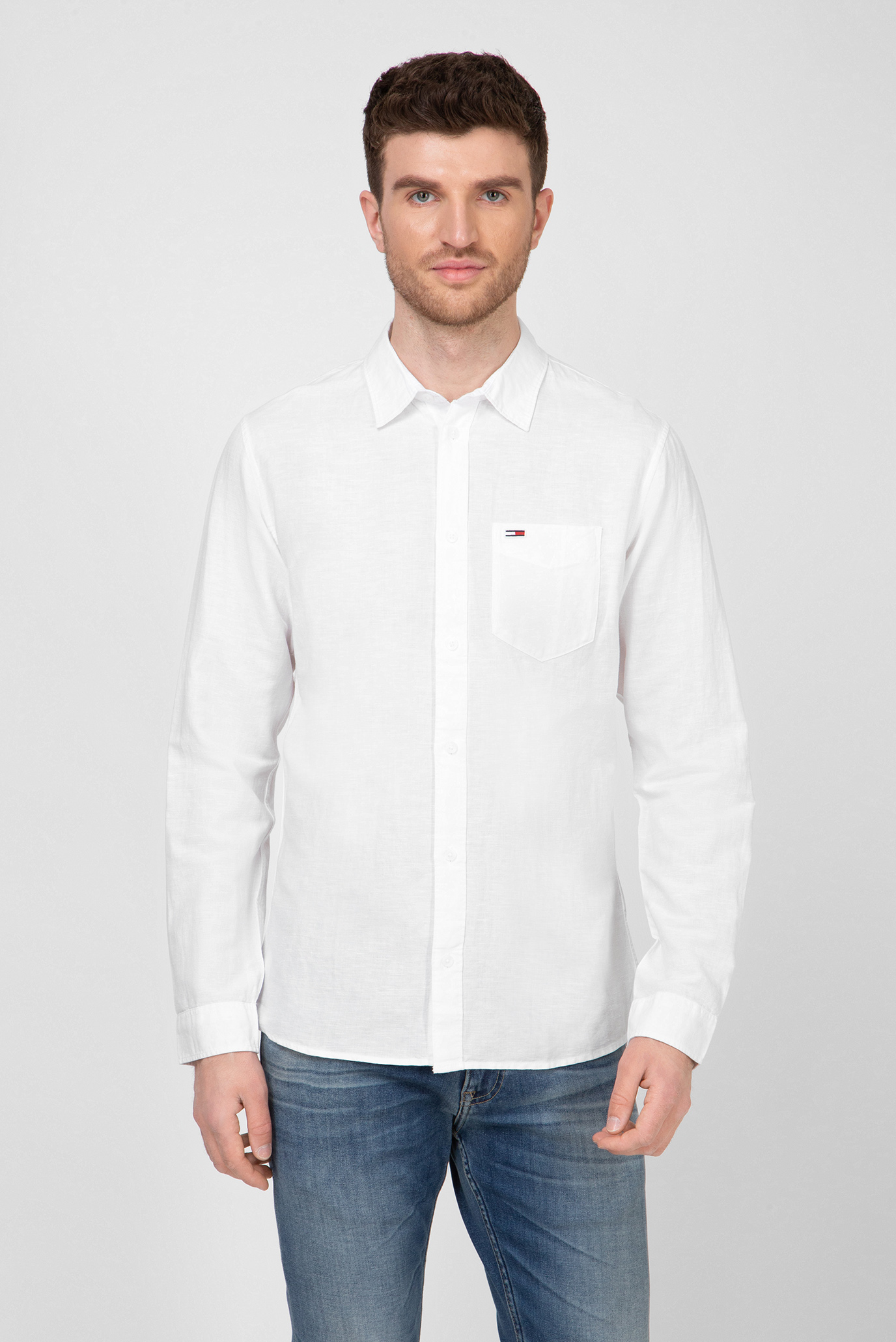 Мужская белая льняная рубашка Regular Fit Tommy Hilfiger
