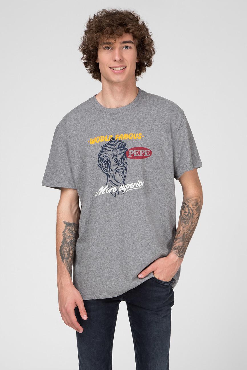 Мужская серая футболка с принтом JONATHAN
