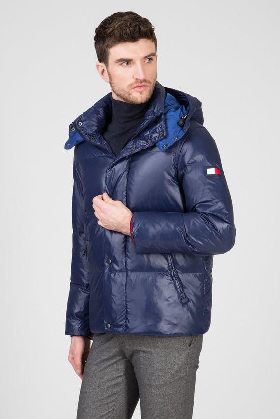Мужская синяя куртка SHINY HOODED