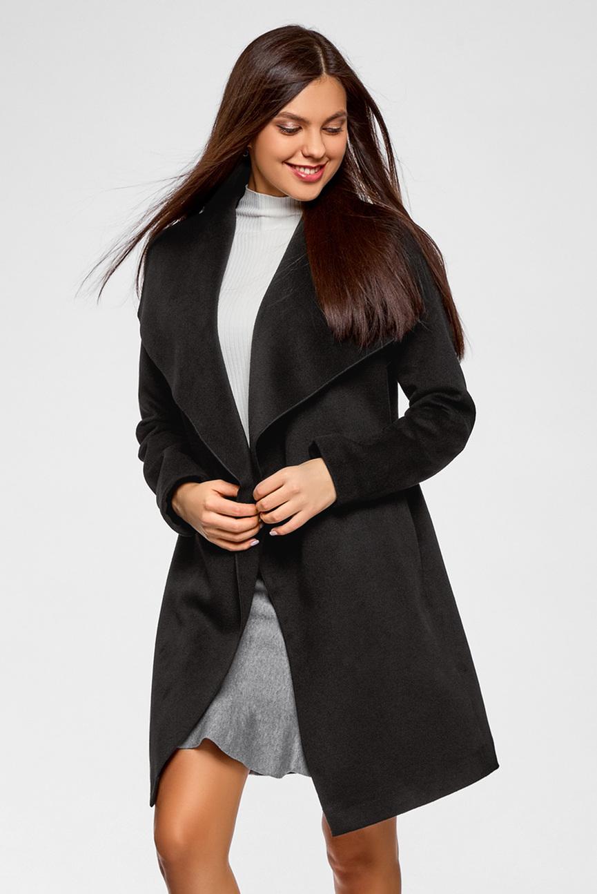 Женское черное пальто