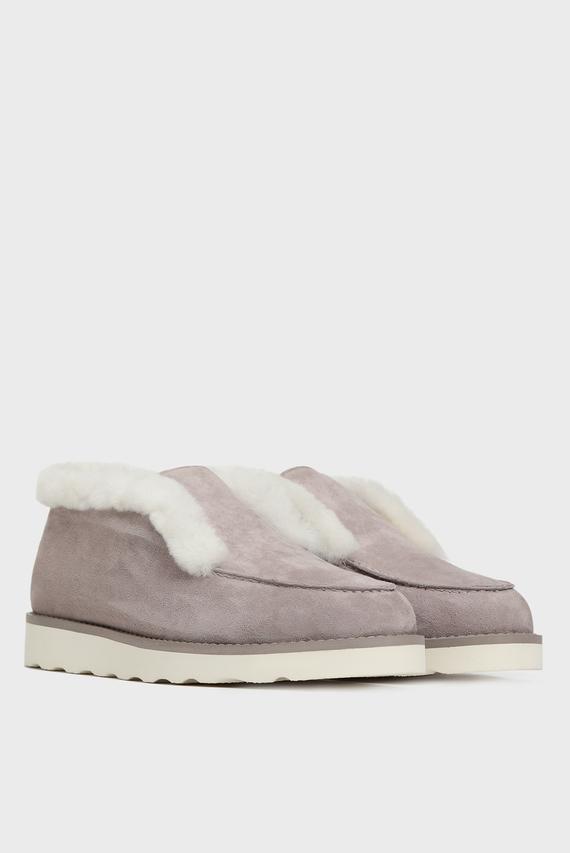 Женские серые замшевые ботинки с мехом Yukon