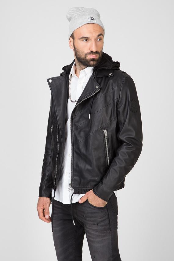 Мужская черная кожаная куртка L-SOLOVE GIACCA