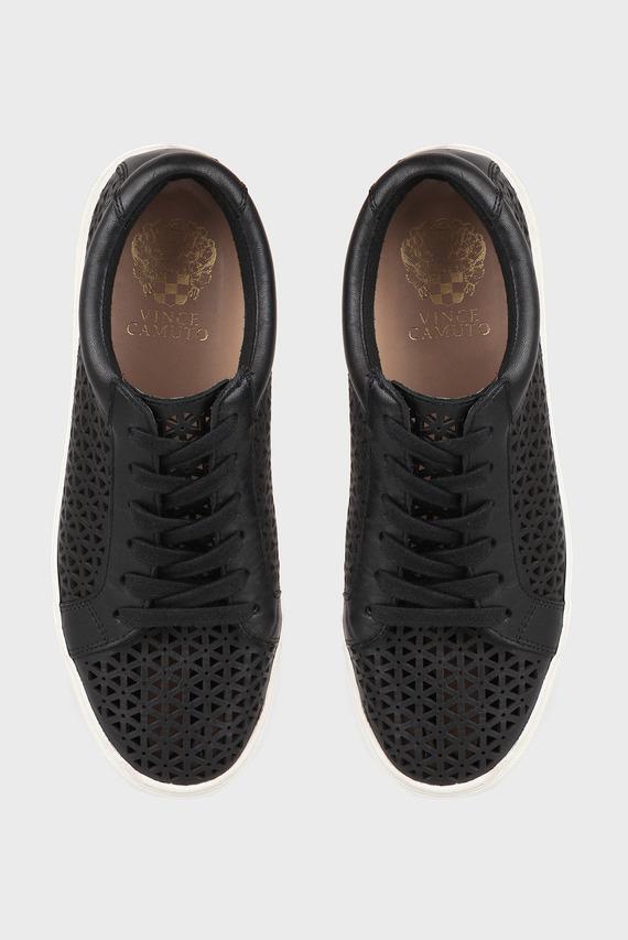 Женские черные кожаные сникеры