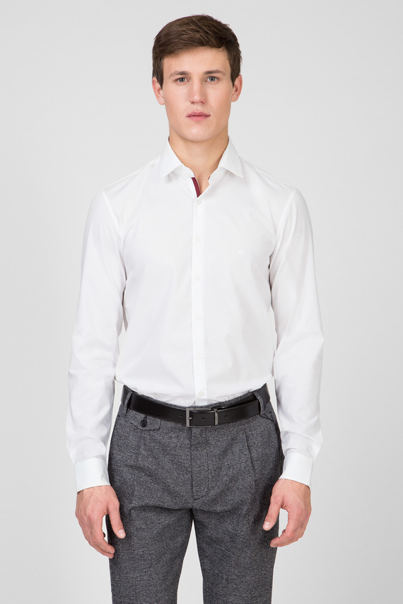 Мужская белая рубашка 2PLY POPLIN STRETCH SLIM 609