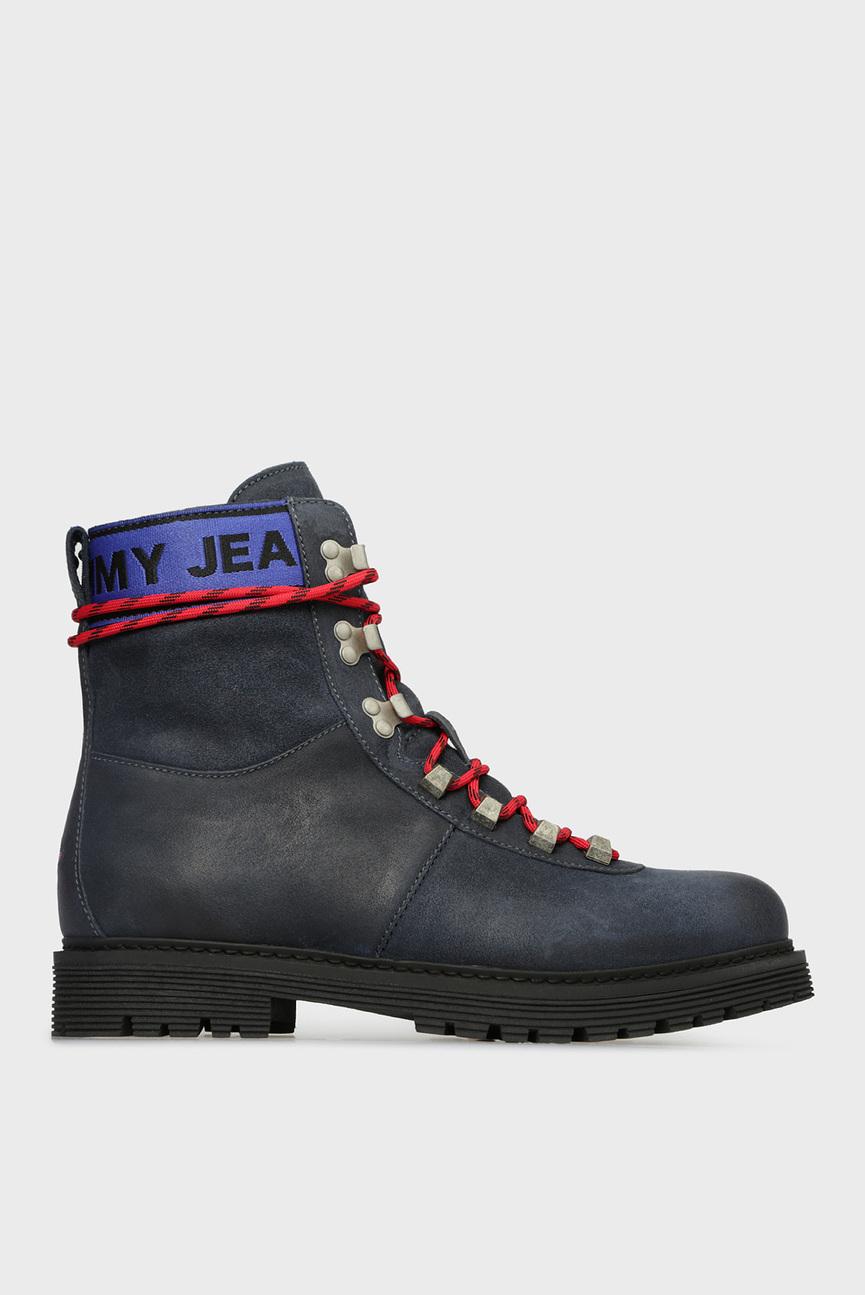 Мужские синие кожаные ботинки