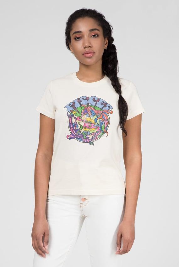 Женская бежевая футболка ZENDAYA ZODIAC PISCES