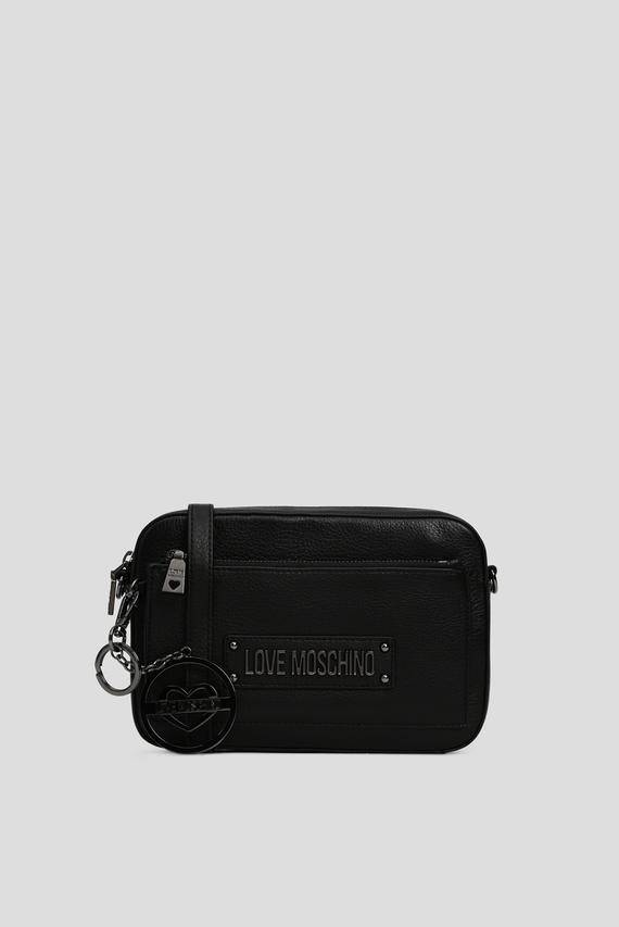 Женская черная кожаная сумка через плечо