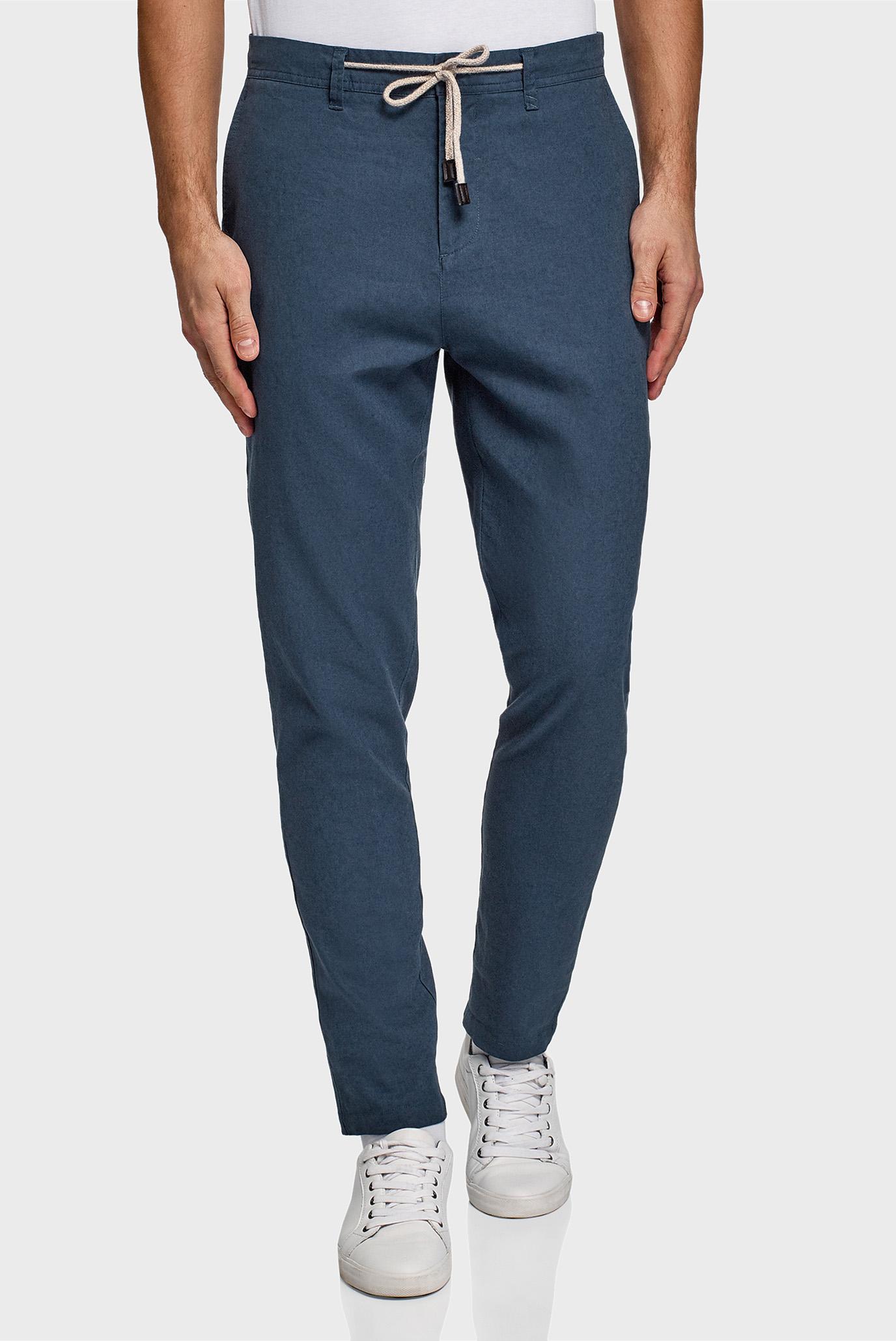 Мужские синие льняные брюки 1