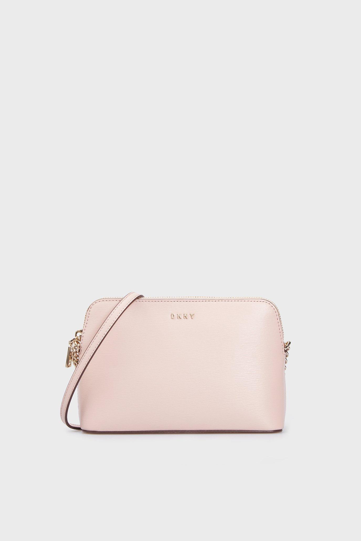 Жіноча пудровая шкірана сумка через плече 1