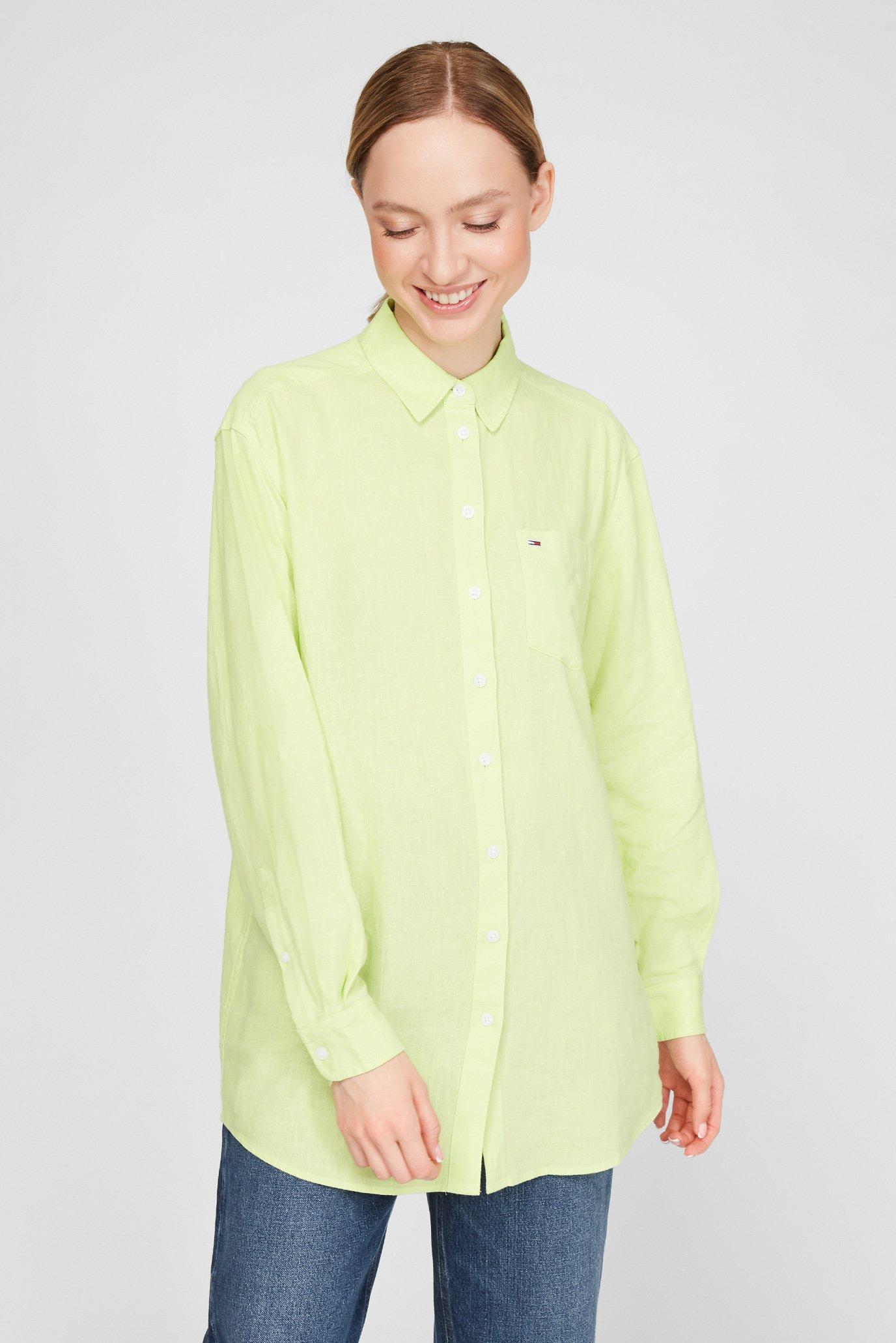 Женская салатовая льняная рубашка 1