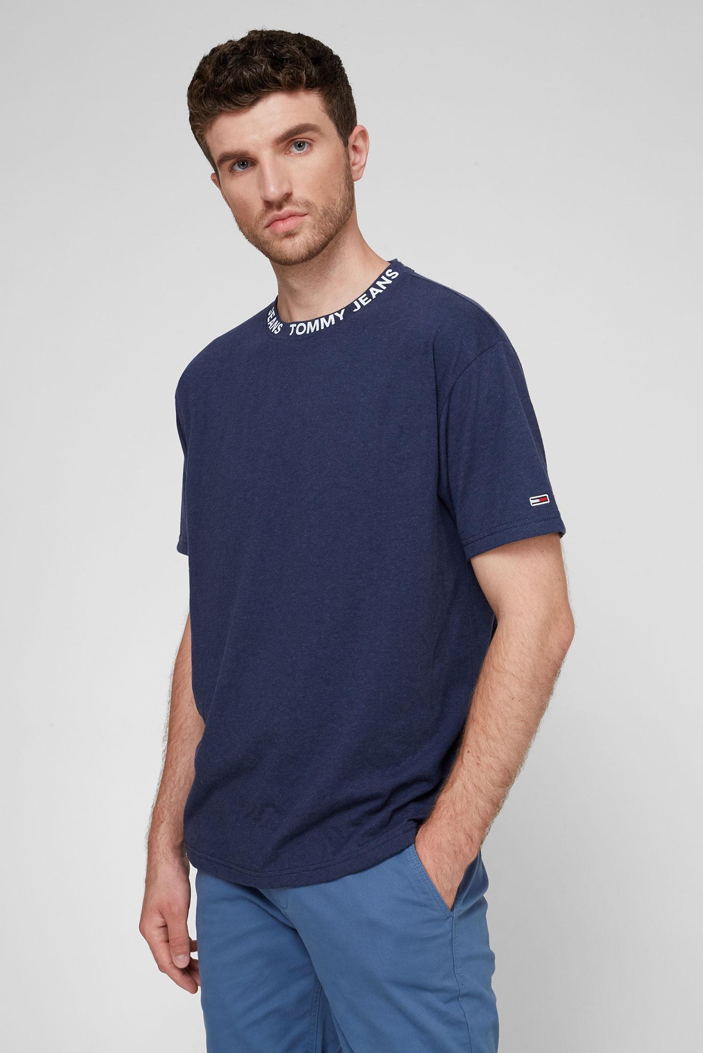 Мужская темно-синяя футболка TJM HEATHER BRANDED COLLAR Tommy Jeans