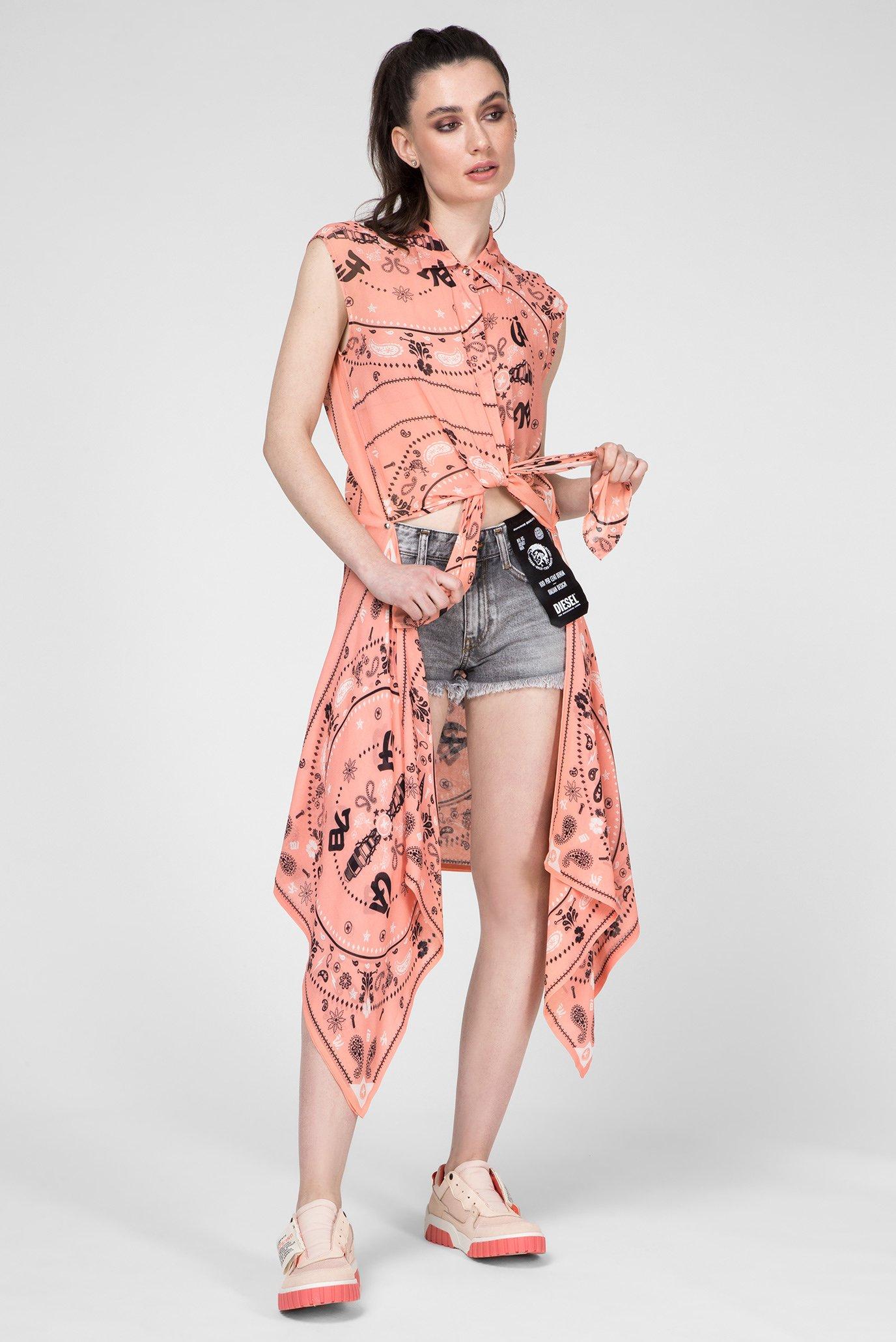 Купить Женская коралловая блуза-трансформер C-SYAM Diesel Diesel 00SQC6 0PAUN – Киев, Украина. Цены в интернет магазине MD Fashion