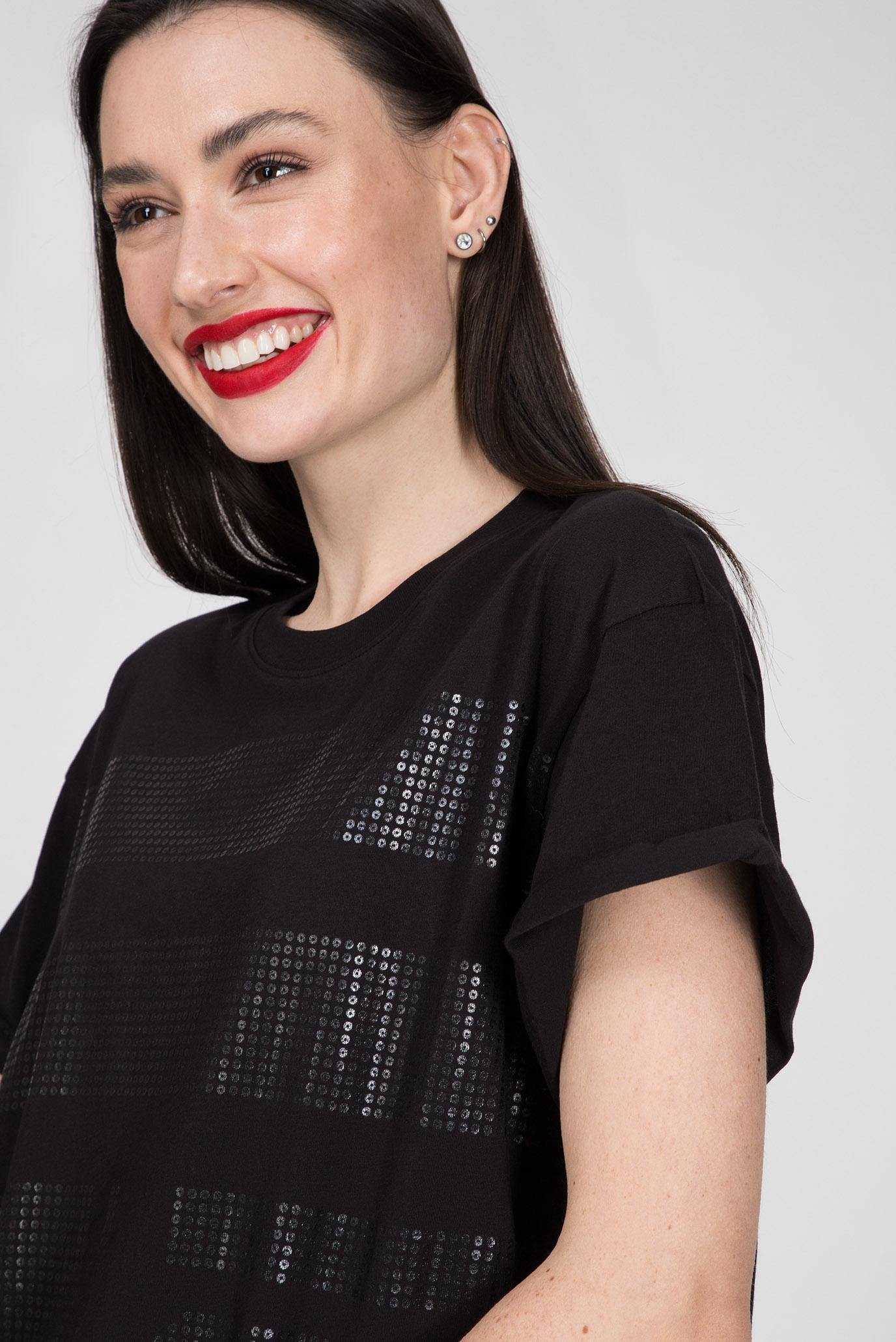 Женская черная футболка Graphic 14 weir G-Star RAW