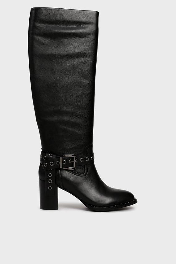 Женские черные кожаные сапоги Hudson