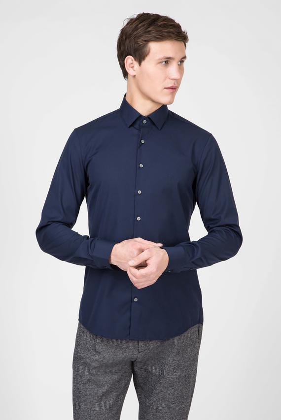 Мужская темно-синяя рубашка CONTRAST EASY IRON SLIM