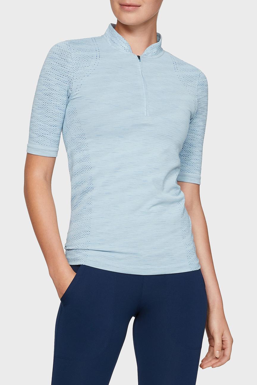 Женское голубое поло Seamless Zip Polo
