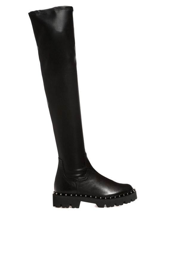 Женские черные кожаные ботфорты