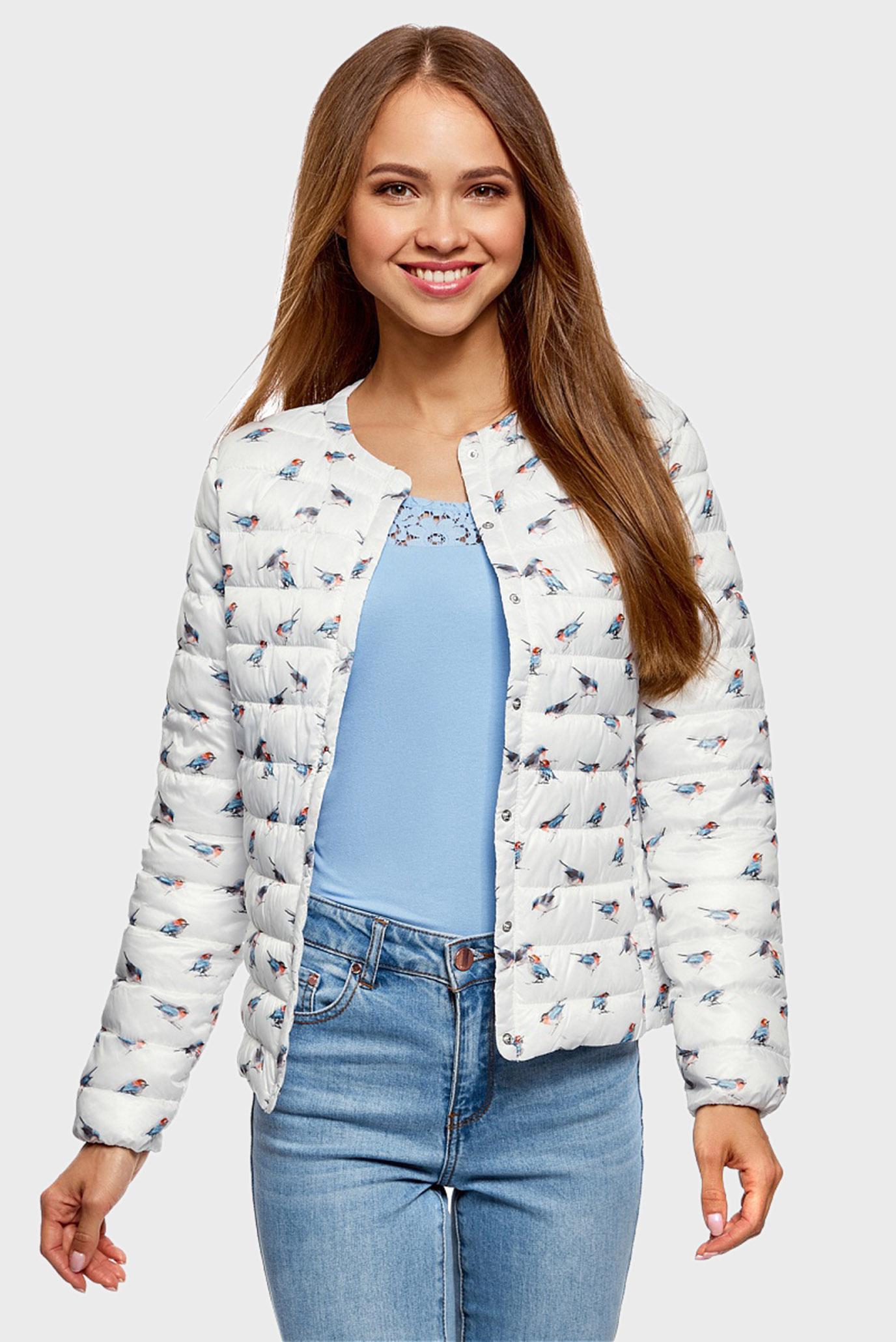 542100f01fb Купить Женская белая стеганая куртка exclusive Oodji Oodji  10204040-1B 42257 1270A – Киев